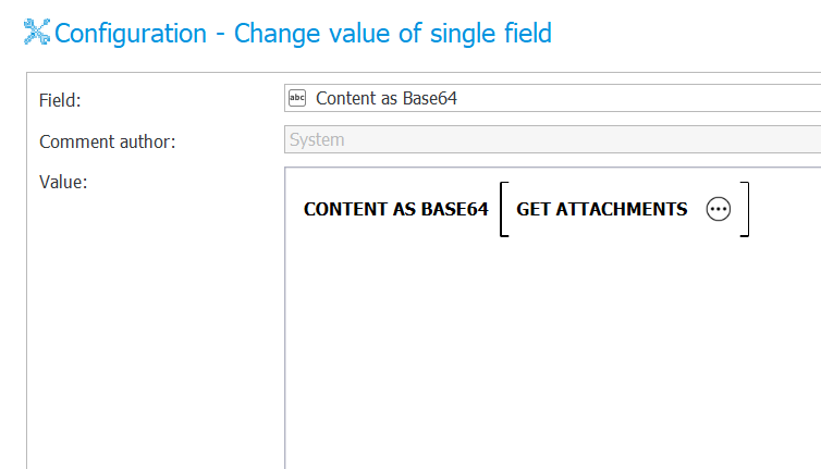 The image shows configuration of the Content as Base64 rule within the action