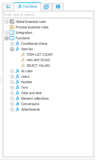 The image shows the SELECT VALUES function in the expression editor