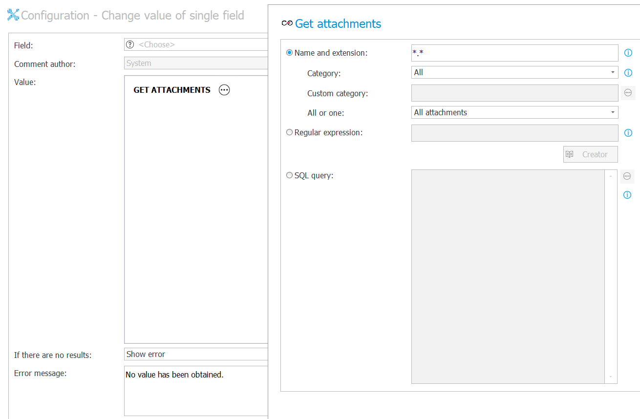 """The image shows the configuration of the """"Change value of single field"""" action"""
