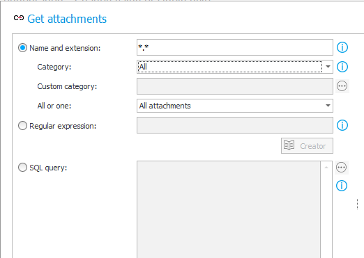The image shows sample configuration of the first attachment selection mode in the Get attachments rule