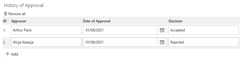 The image shows the History of approval item list
