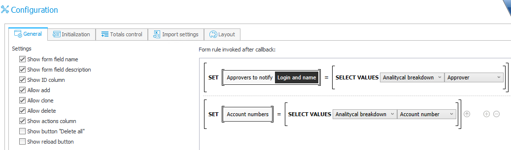 The image shows the configuration of rules using the SELECT VALUES functions