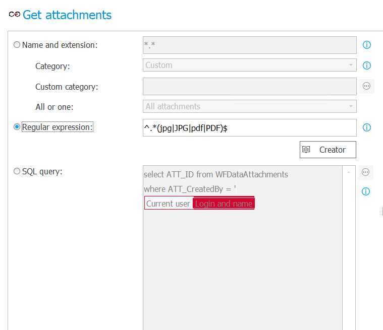 The image shows sample configuration of the second attachment selection mode in the Get attachments rule