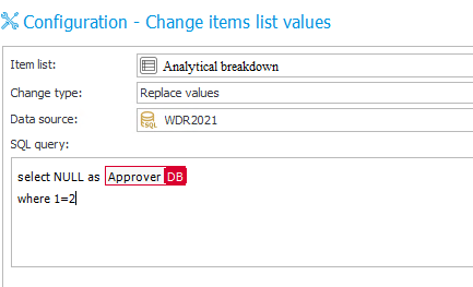 The image shows the configuration of value replacement in the Analytical breakdown item list