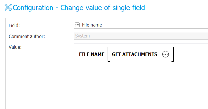 The image shows configuration of the Get attachments rule for the File name rule