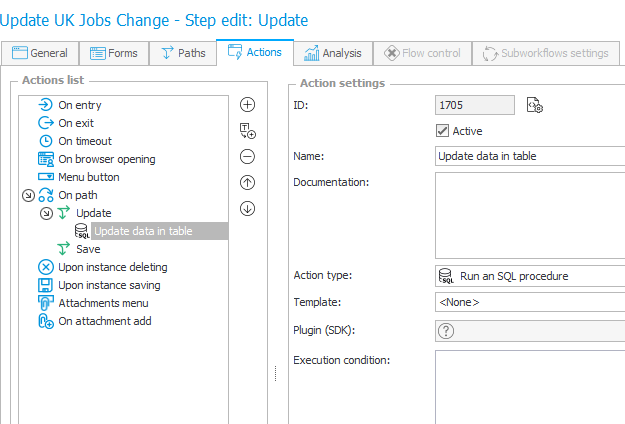 The image shows the configuration of the action that updates data