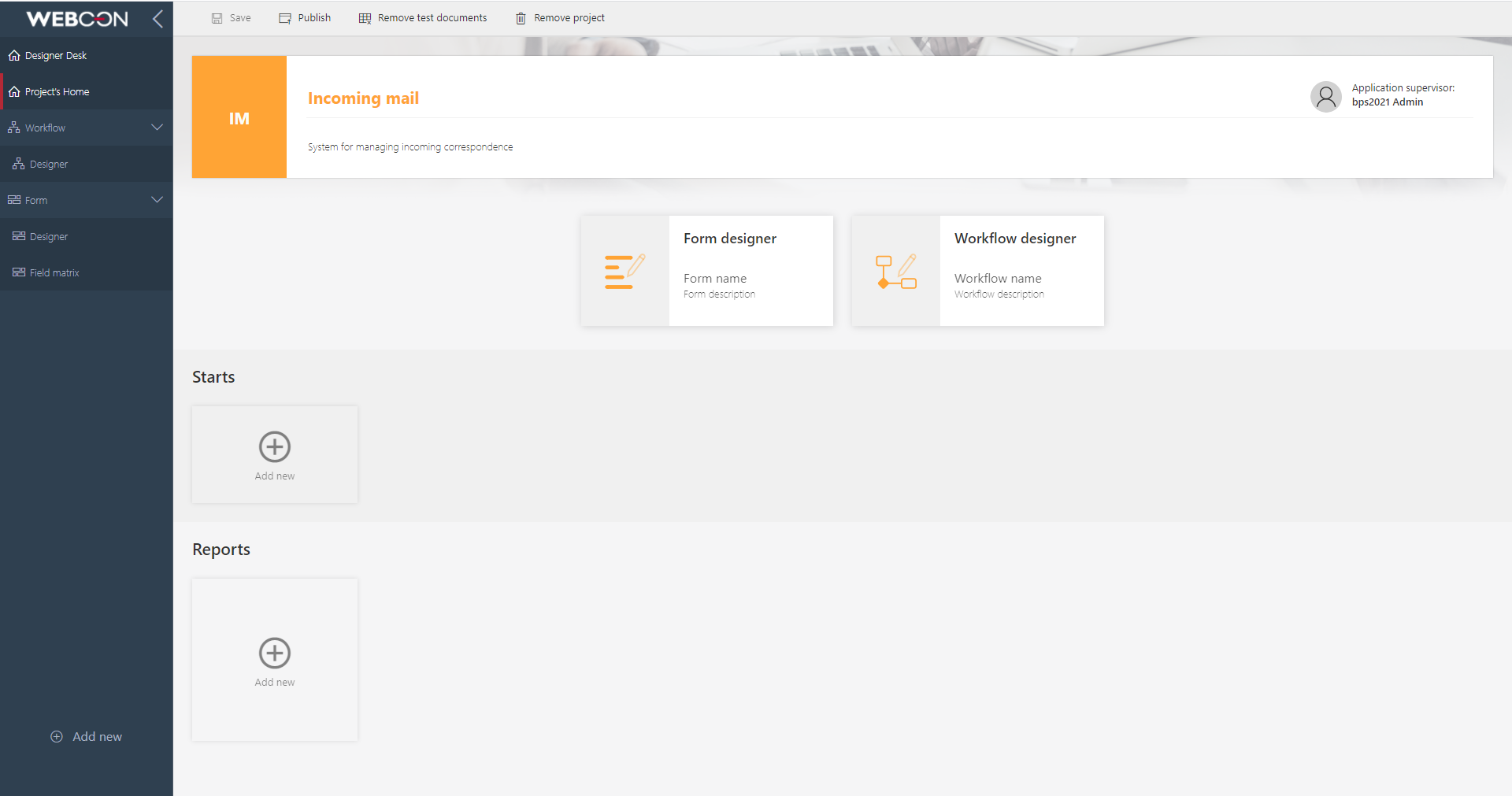 The image shows the main page of the project in Designer Desk