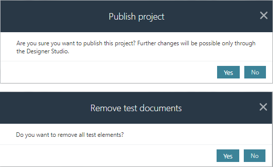 The image shows the message about publication the project