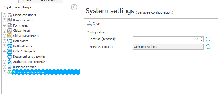 The image shows the configuration of the service account